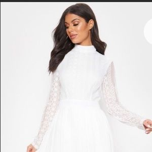 Lace & Pleated Dress